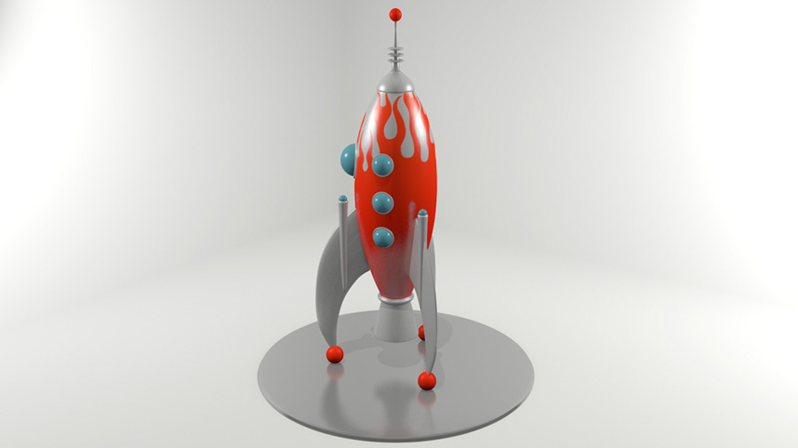 Retro Rocket Ship in Blender