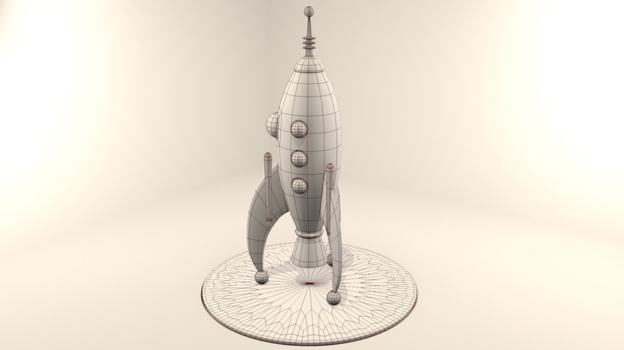 Retro Rocket Ship in Blender Wire
