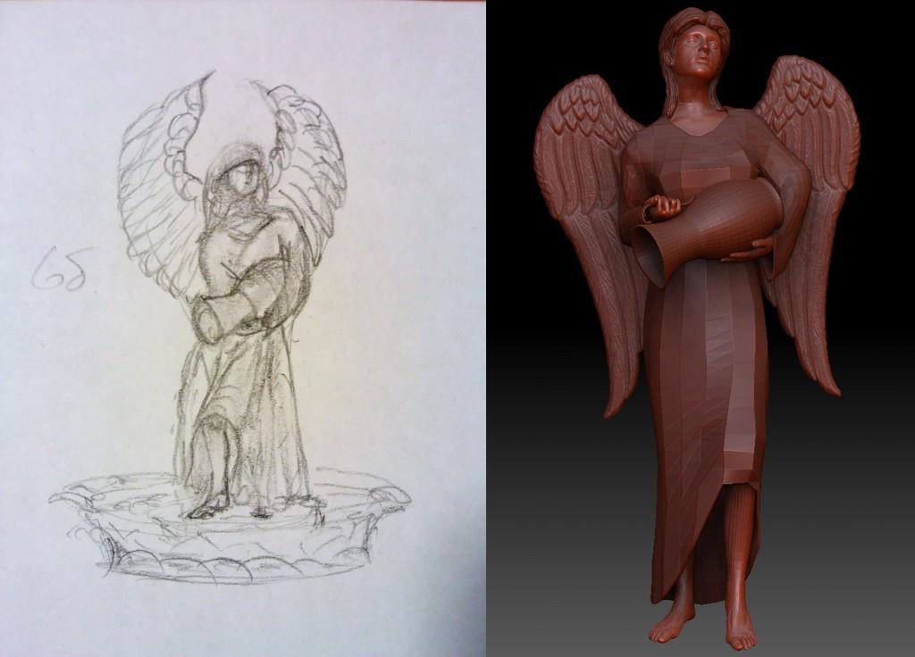 Набросок и первичная модель ангела