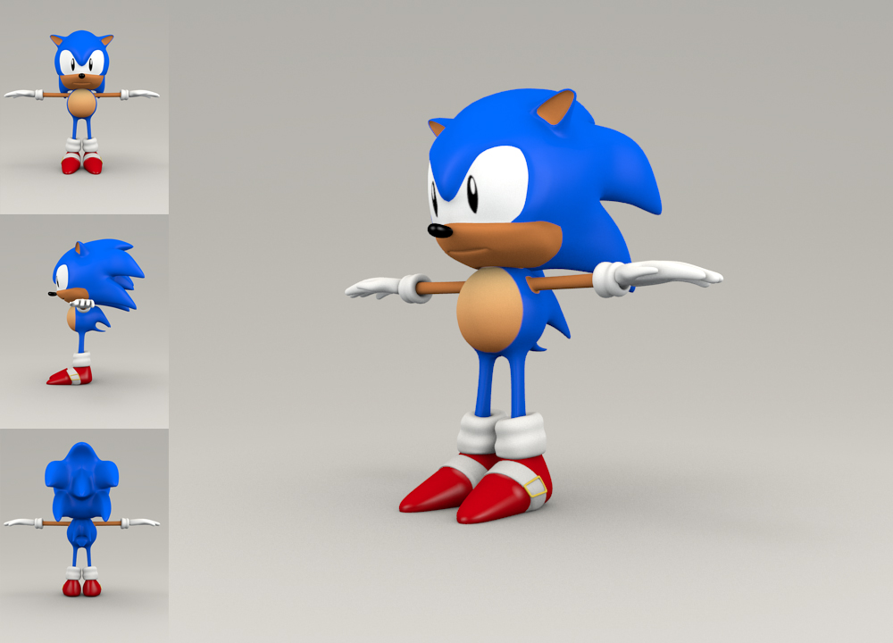 Sonic, hi-poly model