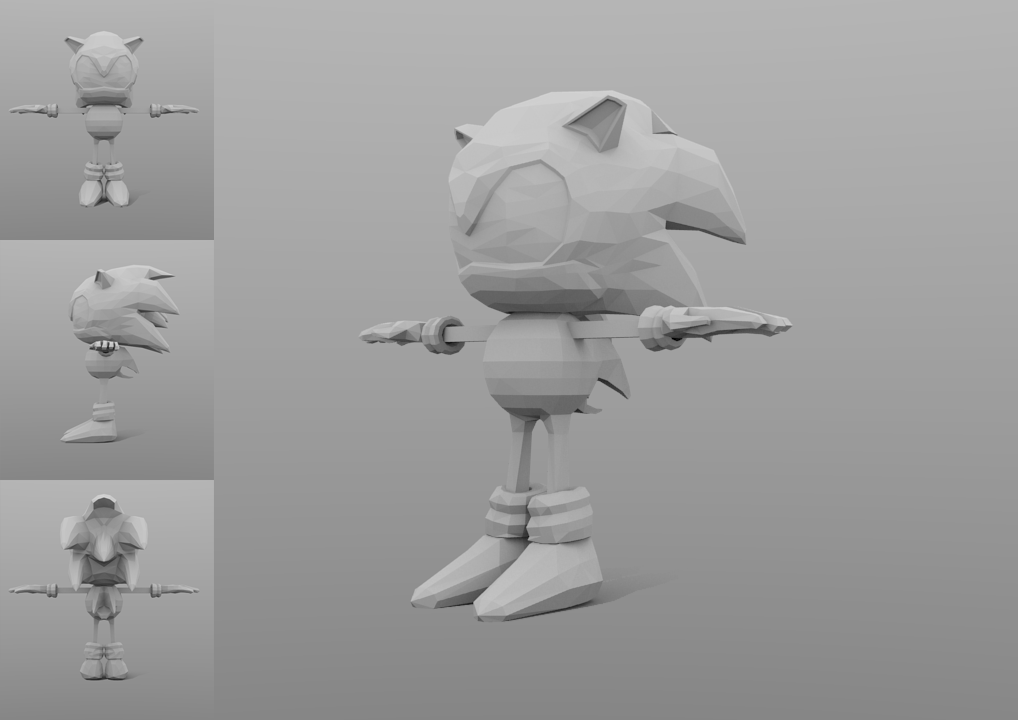 Sonic, low-poly model